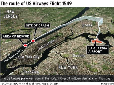 A map of the path and landing site of the Hudson plane crash, Flight 1549